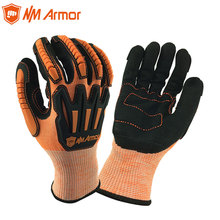 NMArmor Orange Anti impact Vibration Mechanic Cut Resistant Safety Multi-Task Work Glove nmsafety anti vibration oil safety glove shock absorbing mechanics impact resistant work glove