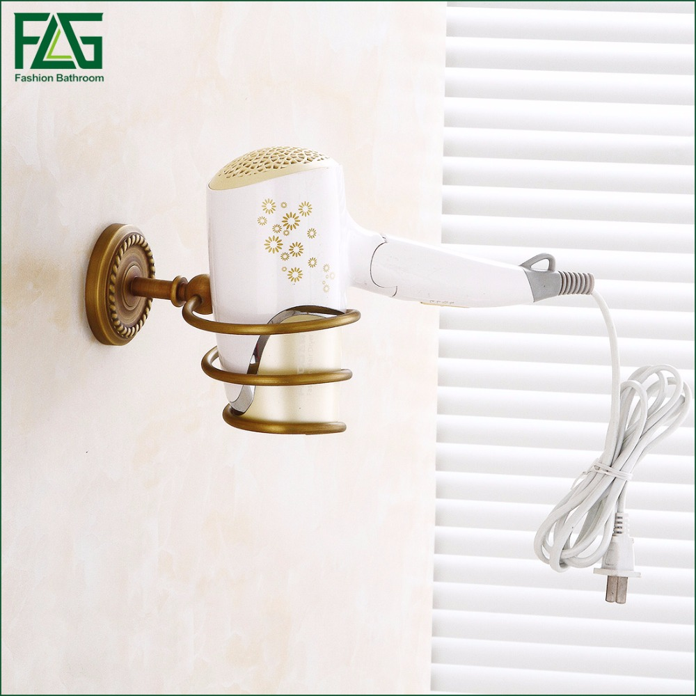 FLG Bathroom Shelves Antique Brass Wall Mount Hair Dryer Rack Hair Dryer Bathroom Shelf Holder