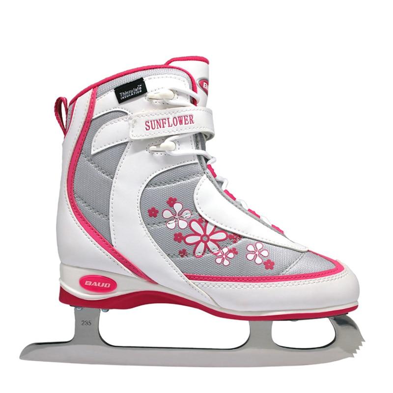 2018 nouveaux enfants filles femmes adolescent professionnel chaussures de patinage artistique avec lame de glace PVC imperméable à l'eau maille Absorption des chocs