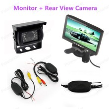 7 Inch TFT LCD Color Display Screen Monitor + 18LED Car Rear View camera +wireless tranmistter receiver kit
