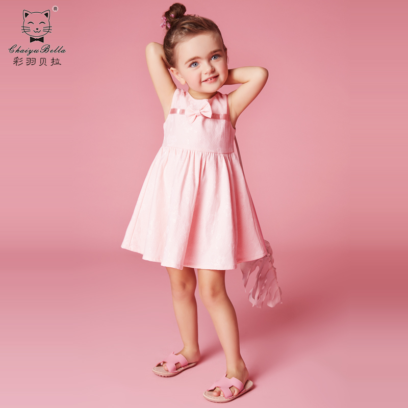 ФОТО sleeveless princess pink baby girl  dress soft cotton