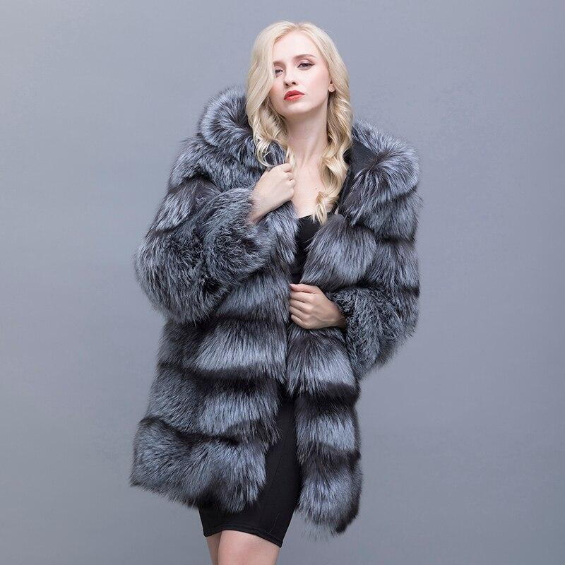 Exalted Women Real Raccoon Fur Collar Rabbit Fur Lined Hooded Jacket Parkas Coat
