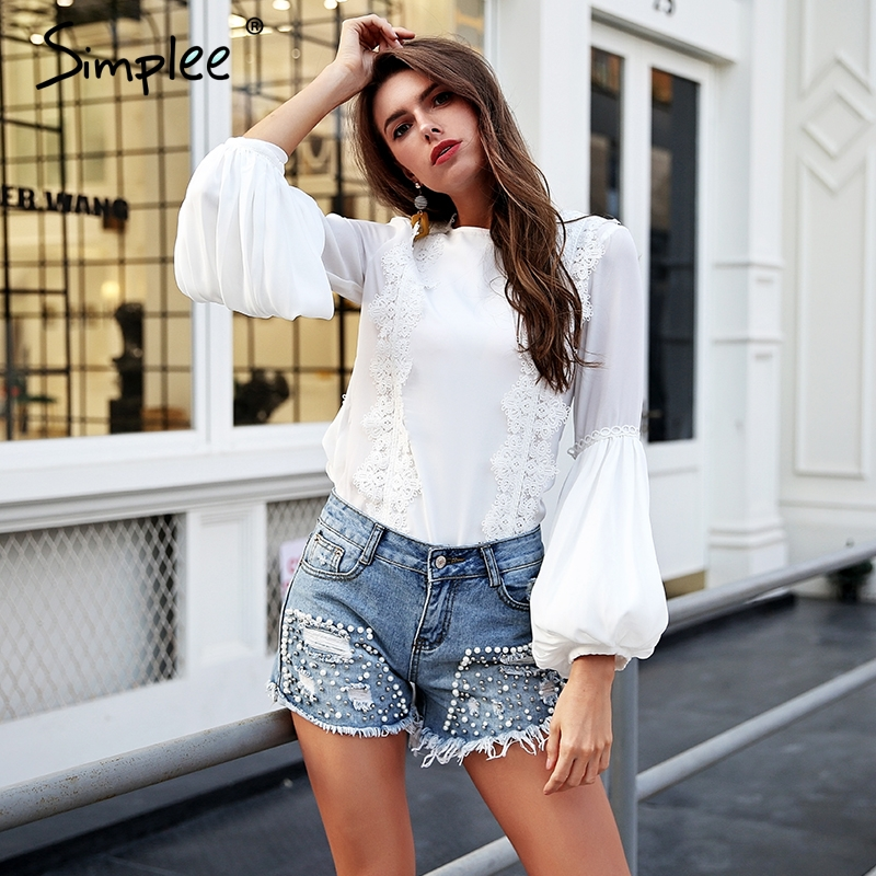 Simplee Elegant lace spliced white   blouse     shirt   women O neck puff long sleeve   blouse   top 2018 Summer beach casual blusas femme