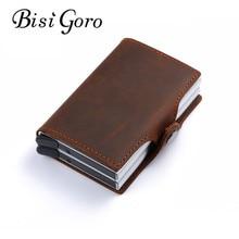 BISI GORO 2019 vintage genuine leather card holder rfid wallet aluminum unisex crazy horse 2 metal credit