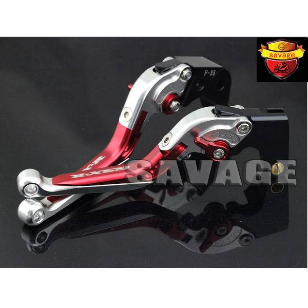 ФОТО For SUZUKI GSXR 600/750 2006-2010, GSXR1000 2005-2006 Red&Silver CNC Aluminum Folding Extendable Brake Clutch Levers logo GSX-R