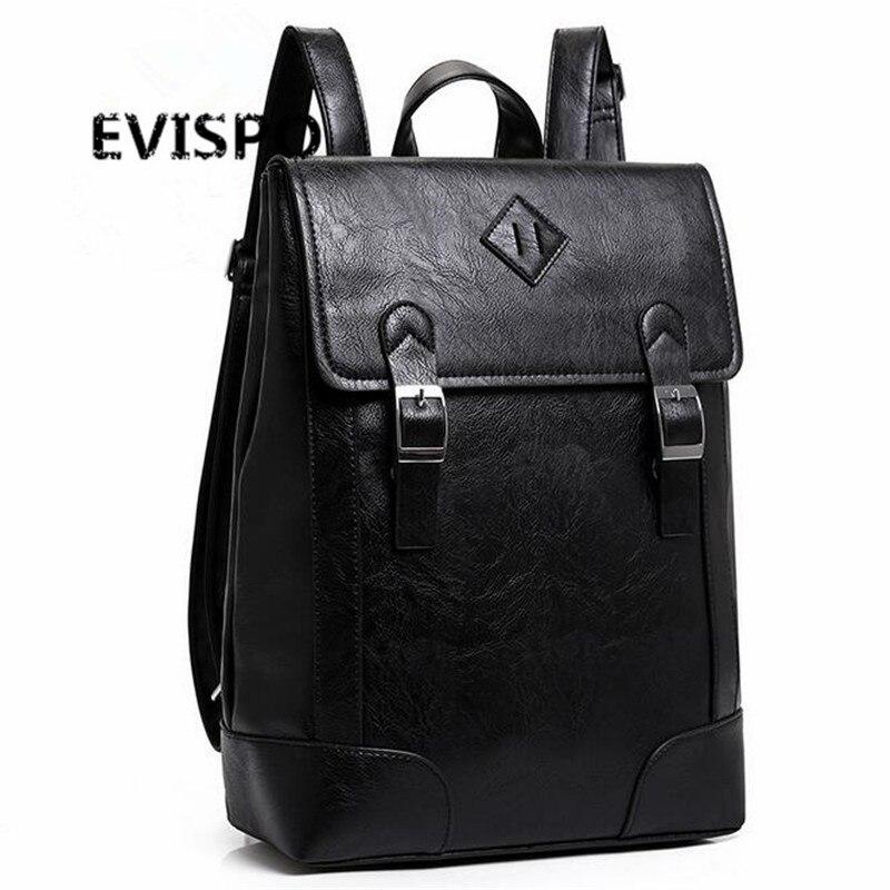 ФОТО Men Laptop Backpack Black PU Leather Rucksack Large Men's Business Travel Backpacks Teenage Boys School Backpacks mochila EVISPO