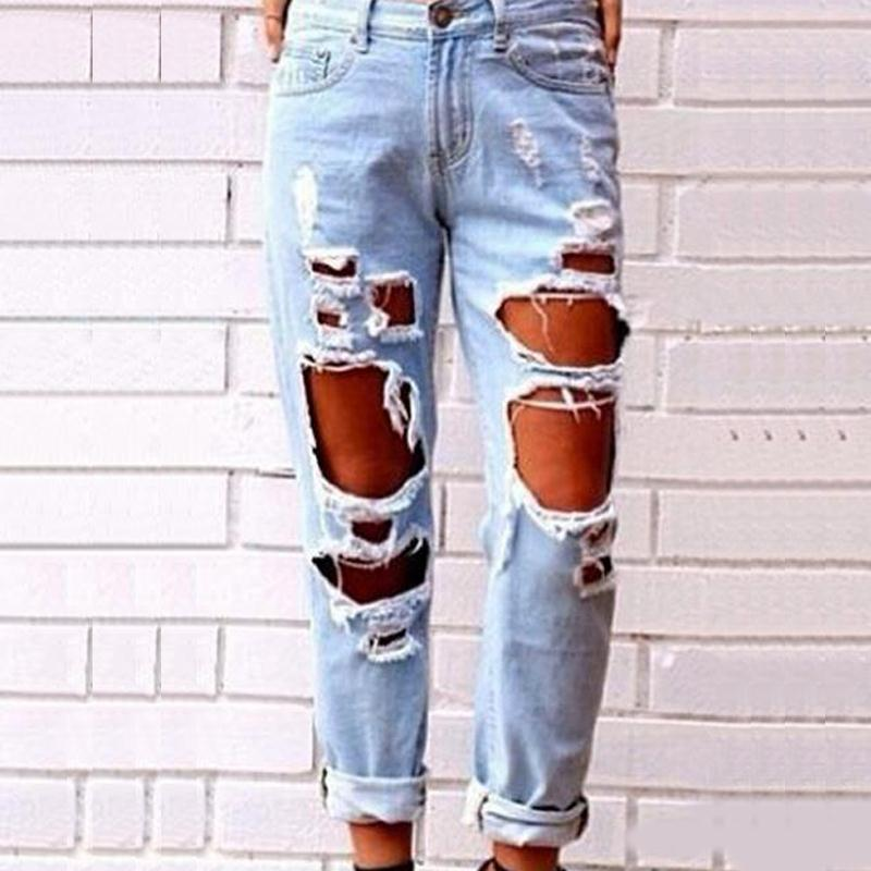 Ripped Hollow Out Jeans Pants Women 2017 Fashion Sexy Pants Light Blue Jeans Mujer Denim Mom Ladies Femme Ripped