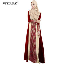 Women Long Dress Black Red Long Sleeve Lace patchwork
