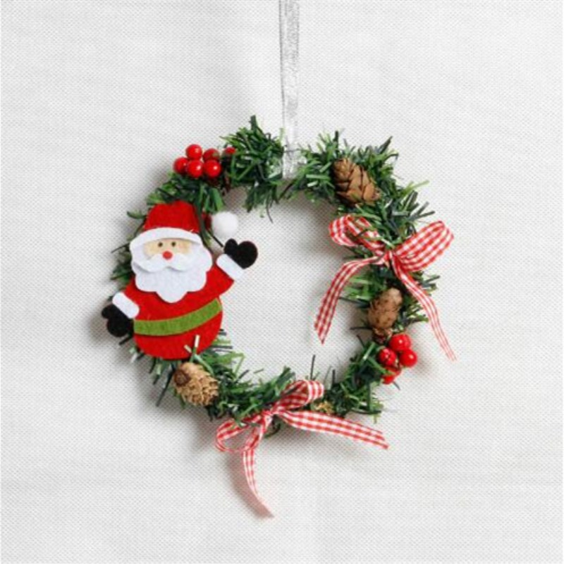 1PC Christmas Wreaths Berries Red Bow Knots Ornaments Window ...