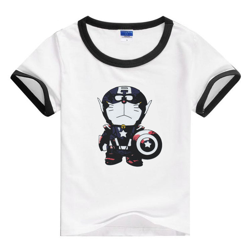 PSYDUCK Children Summer Tops Funny Doraemon Cosplay Captain America Cartoon Kids T-shirt Crew Neck Basic Boys Girls Tees