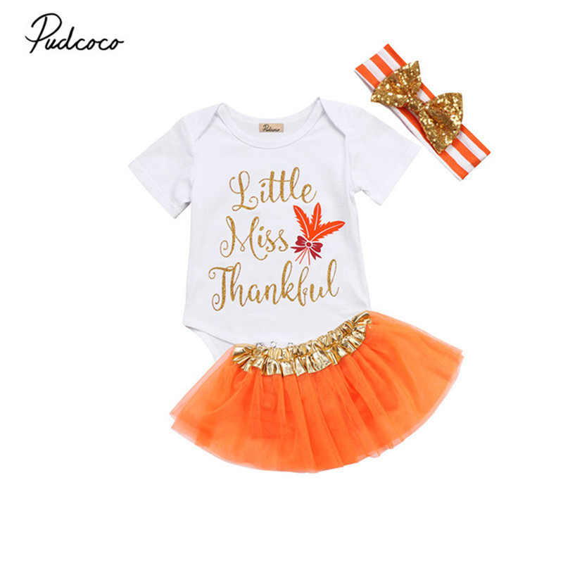 0 to18M Newborn Baby Girls Clothes Hot sell Thanksgiving Short Sleeve Romper+Tutu Skirt+Headdress 3Pcs Outfits Baby Clothing Set