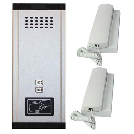 SMTVDP New Arrival Audio Door Phone Intercom System 2-apartments Audio Doorbell,New Design Indoor Unit ID Card Unlock Function