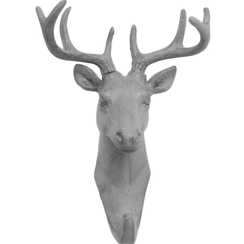 Купить с кэшбэком Roogo Hanger Key Holder Wall Deer Head Room Decoration Wall Hook Gray Annimal Wall Coat Rack Resin Home Decoration Accessories