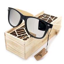 BOBO BIRD Mens Summer Style Vintage Black Square Sunglasses With Bamboo Mirrored Polarized Travel Eyewear in Wood Box BS23
