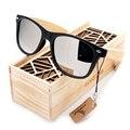 BOBO Estilo PÁSSARO do Verão Dos Homens Do Vintage óculos de Sol Pretos Quadrados Com Espelhado Polarized Eyewear Viagem na Caixa De Madeira de Bambu BS23