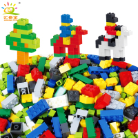 1000PCS Colorful Building Blocks City DIY Creative Bricks Figures Base Plate Compatible Legoe Educational Toys For Children Kids