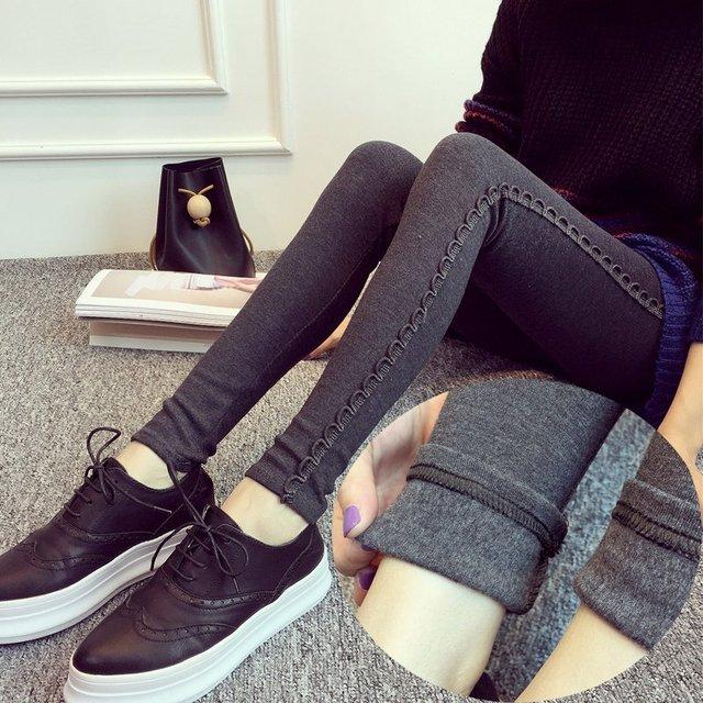 4xl além disso tamanho grande calcinha mulheres primavera outono 2016 feminina Engrossar leggings de cintura alta de veludo preto cinza fêmea fora A1857