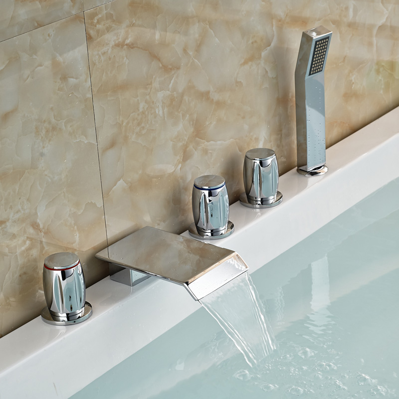 Chrome Brass Three Handles Waterfall Tub Filler Deck Mount Bathroom Bathtub Mixer Faucet with Handshower