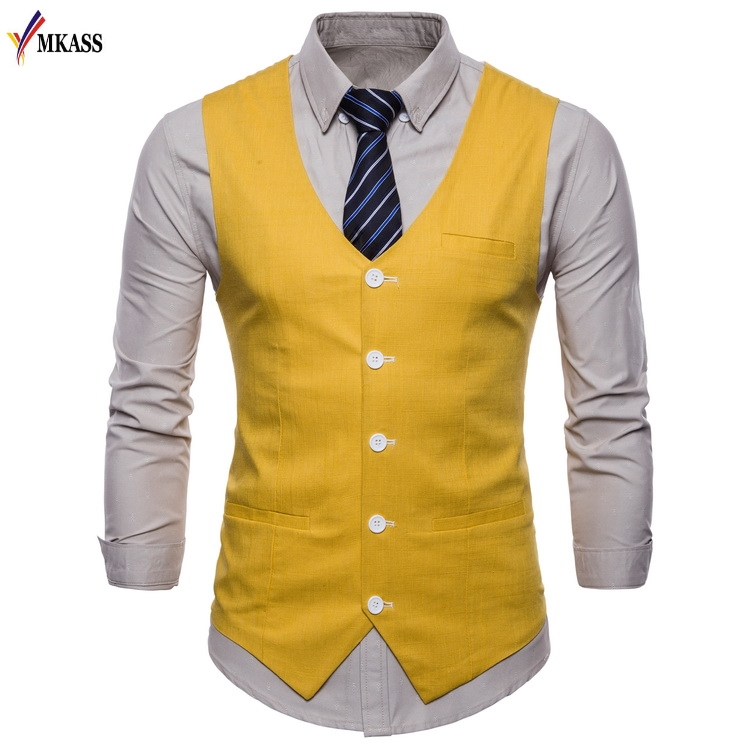 2018 New Brand Men's Classic Formal Business Slim Fit Dress Vest Suit Fashion Wedding Party Tuxedo Waistcoat Large Size M-4XL