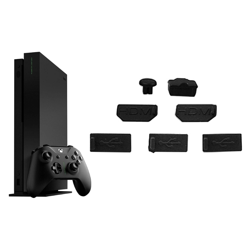 OOTDTY 7 pz USB HDMI Spina Della Polvere Della Copertura per Xbox One X Console di Gioco A Prova di Polvere Kit Cap
