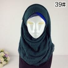 Crinkle Plain Wrinkle Wrap Bubble  Viscose Long Scarf Women Crinkled Shawl Muslim Head  Hijab Good Quality Scarf 10pcs/lot