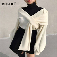 RUGOD Elegant off shoulder pullover sweater women Sexy Solid irregular knitted jumpers sweaters female lantern sleeve pullovers
