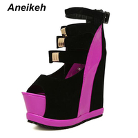 Aneikeh 2018 Summer Shoes Gladiator Sandals Wedges Platform Sexy Ultra High Heels Sandals Shoes Women Size 34 39 B312 8#