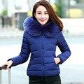 2016 Mulheres Jaqueta de Inverno Para Baixo Casaco de Algodão Acolchoado Jaqueta Curta Faux Fur Collar Parka Mulheres Casacos de Inverno e Casacos