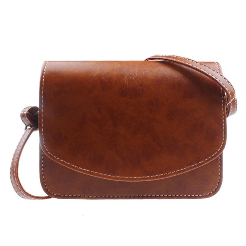 Satchel Handbag Flap-Messenger-Bags Shoulder-Bag Classic Office Brown Retro Mini Fashion