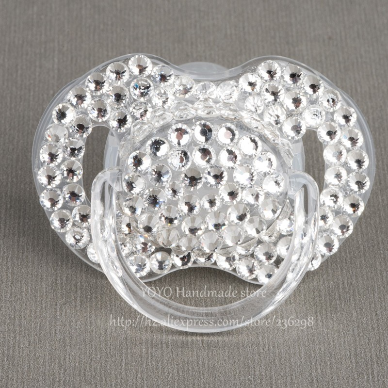 MIYOCAR 5 pcs shining hand made bling crystal rhinestone Baby Pacifier   Nipples  Dummy  cocka  chupeta  pacifier clips c029645b1ef6
