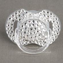 MIYOCAR 5 pcs shining hand made bling crystal rhinestone Baby Pacifier/ Nipples /Dummy /cocka /chupeta &pacifier clips