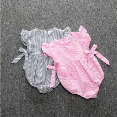 2016 baby girl rompers cute bow girls clothes short sleeve cotton kids romper newborn infant clothing bebe overall clothes