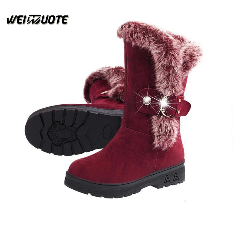Warm Plush Shoes for women New snow boots Flock suede leather woman's boots Flat winter boots Ladies Shoes female botas ankle