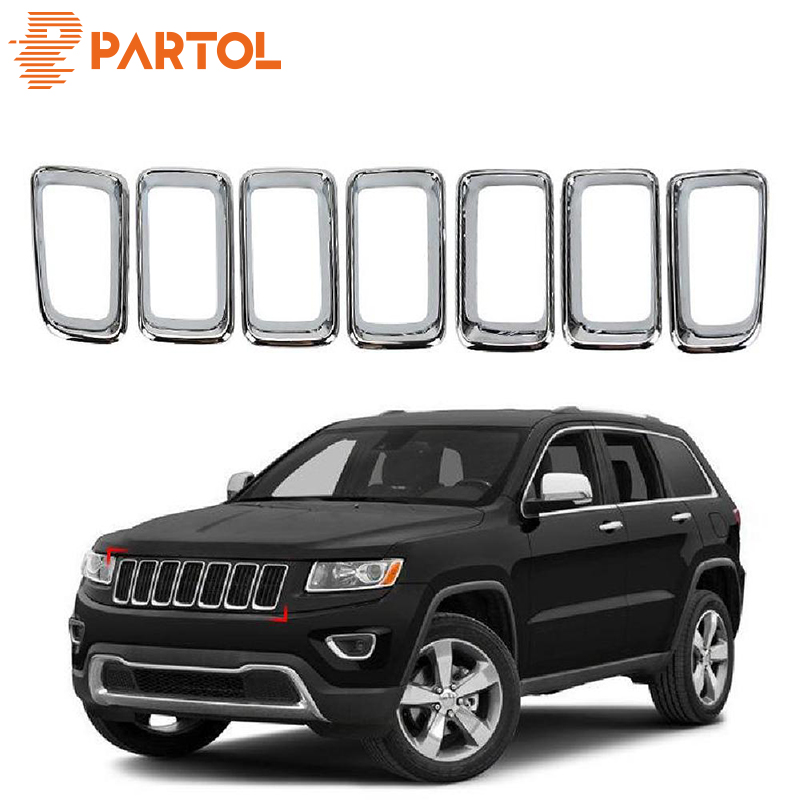 Partol 7Pcs Car Front Grille Protectors Cover Trim Chrome ABS Front Grid Grill Racing Car styling