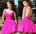2015 Charming Fuchsia Mini Homecoming Dress with Sheer Full Sleeves Beading Short Prom Dress Party Dress EM0052