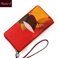 Women Clutch Wallet Maple Print Design Zip-around Black Red  Color Ladies Wallet Leaf Pattern Luxury Phone Holder Wristlet
