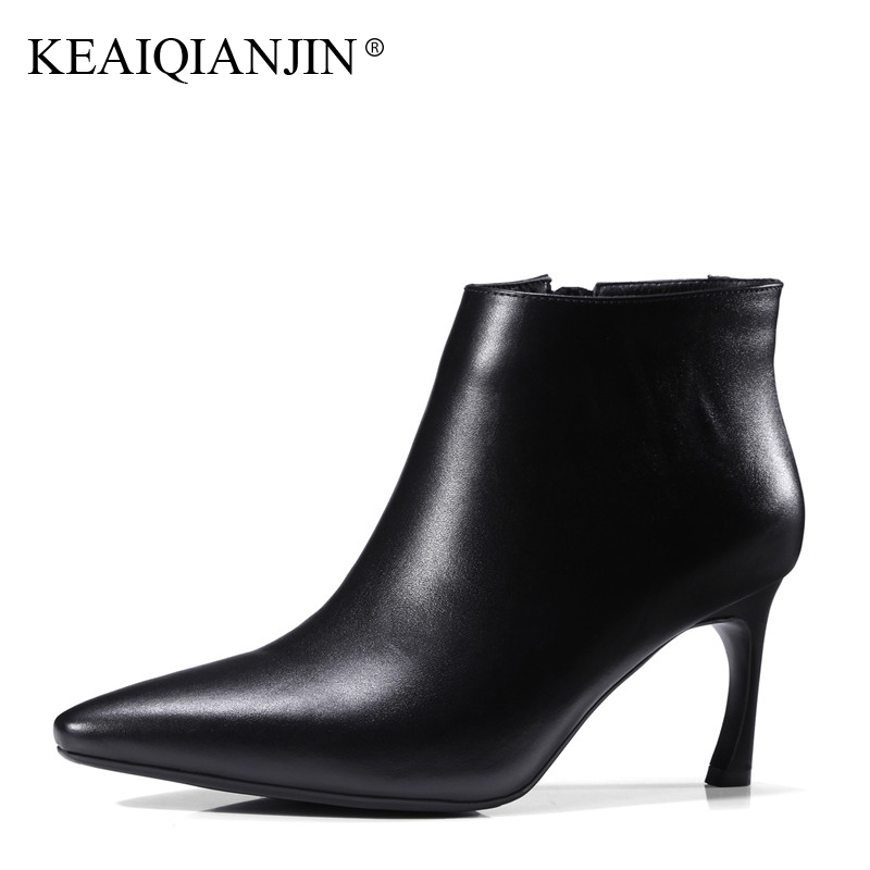 KEAIQIANJIN Woman Genuine Leather High Heel Ankle Boots Autumn Winter Plus Size 33 - 43 Pointed Toe Shoes Yellow High Heel Boots цены онлайн