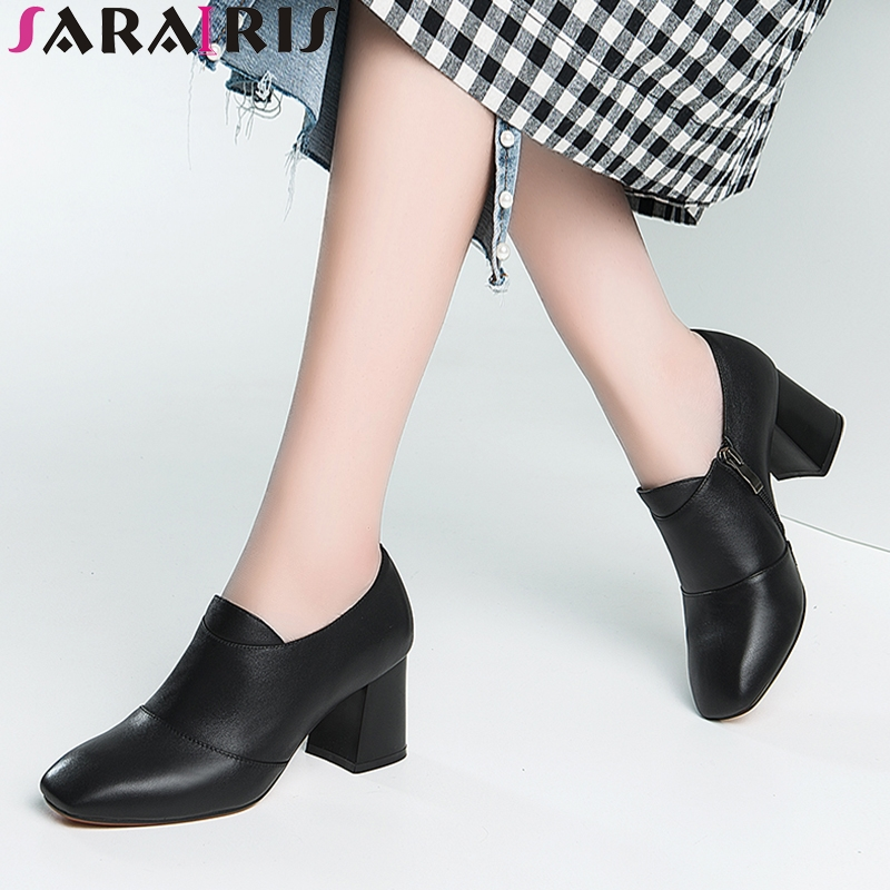 SARAIRIS 2018 Spring Autumn Fashion Elegant Genuine Leather Pumps Zip Sewing High Hoof Heel Women Shoes Large Size 33-42 spring autumn national style crude heel high heels genuine leather large size women shoes anti skid elderly shoes pumps obuv