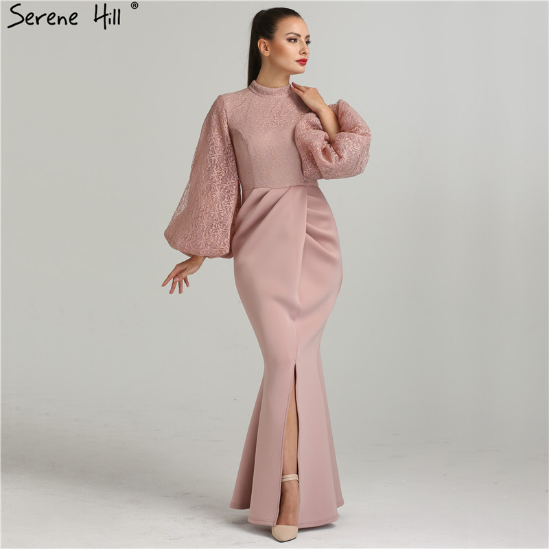 Luxury Pink Navy Blue Beading Mermaid Tulle Evening Dress V-Neck Long  Sleeves Elegant Evening Gowns 2019 Real Photo LA6010USD 220.00 piece 35c30cf20