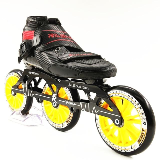10553664464 RASHA SKATE 3 125 grote wielen inline schaatsen schoenen speed schaatsen  zwart carbon inline rolschaatsen mannen/vrouwen patins inline in RASHA SKATE  3 125 ...