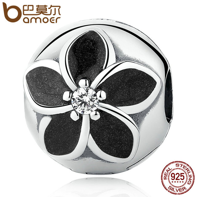 Sterling Silver Mystic Floral Clip Black Enamel Flower Beads Charm