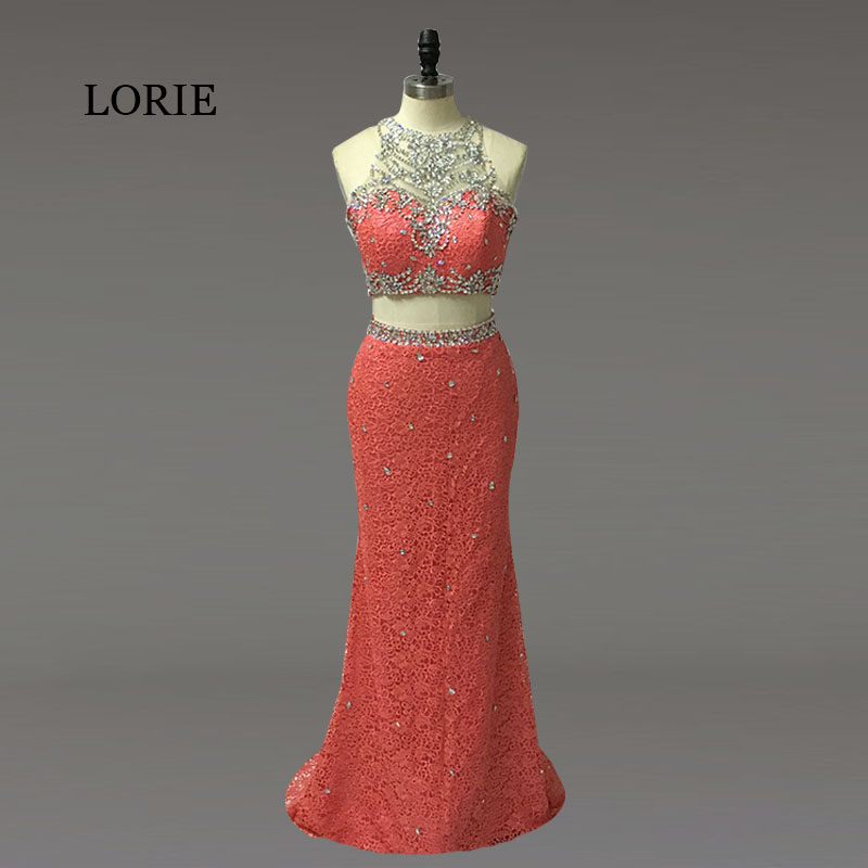 Vintage Lace Two Piece   Prom     Dresses   2019 Mermaid Evening   Dresses   High Quality Elegant Women Party   Dress   With Beaded Crystals