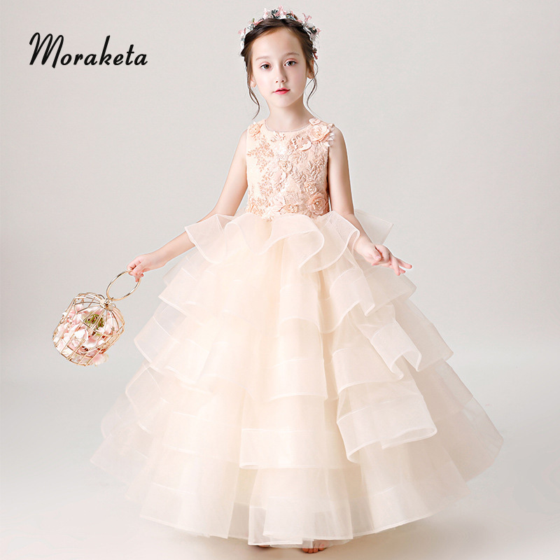 Tiered Tulle Floor-Length Princess Pageant   Dresses   For   Girls   2019 Scoop Neck Sleeveless Ball Gown Bay Pink   Flower     Girl     Dresses