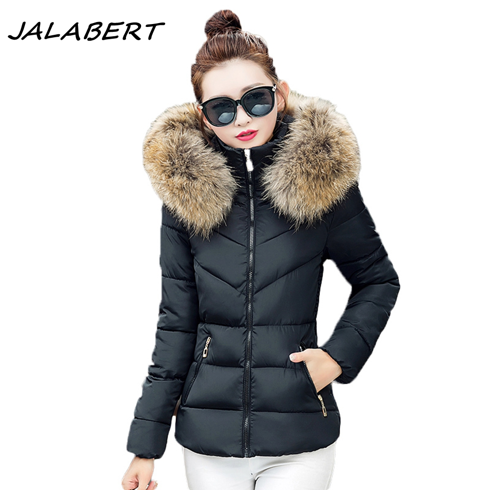 2017 new women winter short fashion Slim thin thicker big fur collar cotton jacket female Behind