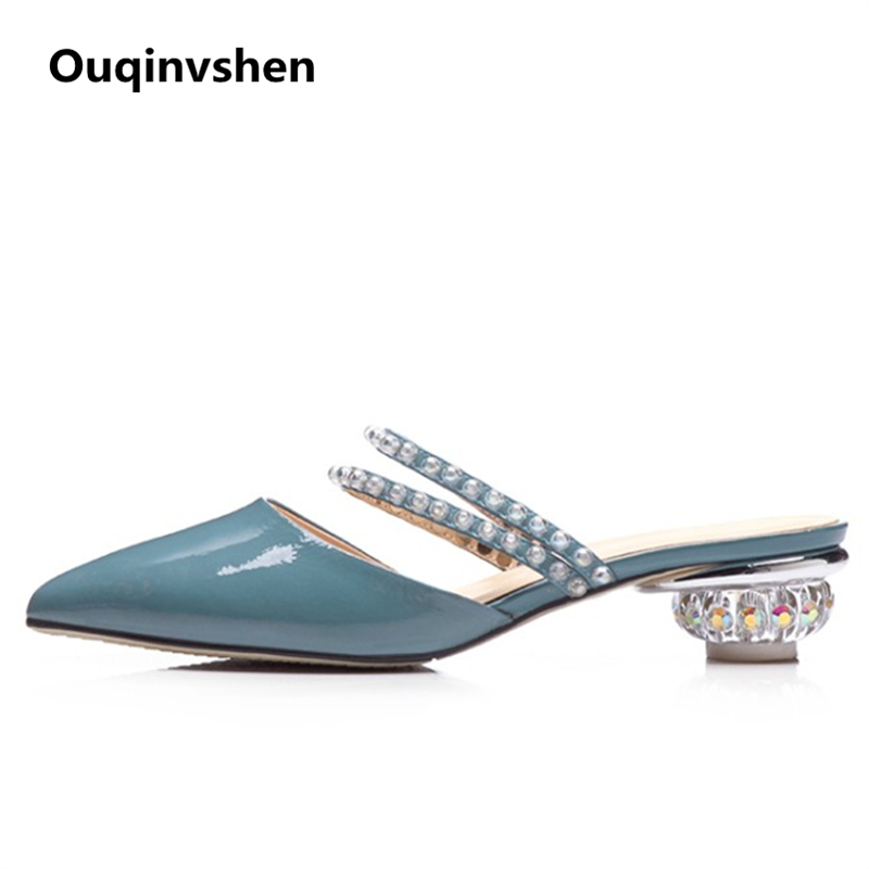 Ouqinvshen Crystal Strange Style Mules Zapatos Mujeres Tallas grandes - Zapatos de mujer