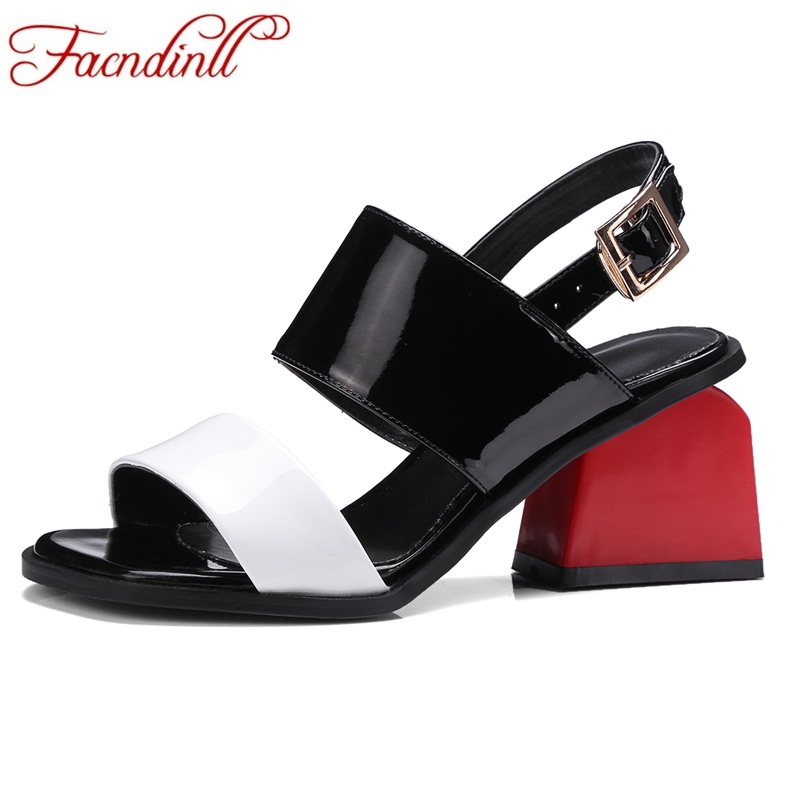 FACNDINLL 2018 new fashion summer genuine leather gladiator sandals shoes high heels open toe shoes woman dress party sandals facndinll new genuine leather women gladiator sandals fashion sexy high heels peep toe shoes woman dress party office lady shoes