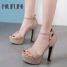 Sexy Womens Sandals Thick With Ladies Waterproof Platform High Heels Rhinestone Belt Buckle Suede Fashion Banquet Wedding Shoes