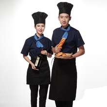 2018 new Summer Short-sleeved Chef service Hotel working wear Restaurant work clothes Tooling uniform hat+scarf+coat +apron sets