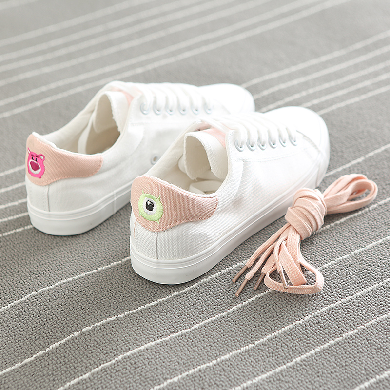 Women Chic Shoes Spring Canvas Shoes Cartoon Character Female White Sneakers Lace Up 2018 New Fashion Pink Blue Size 35-39