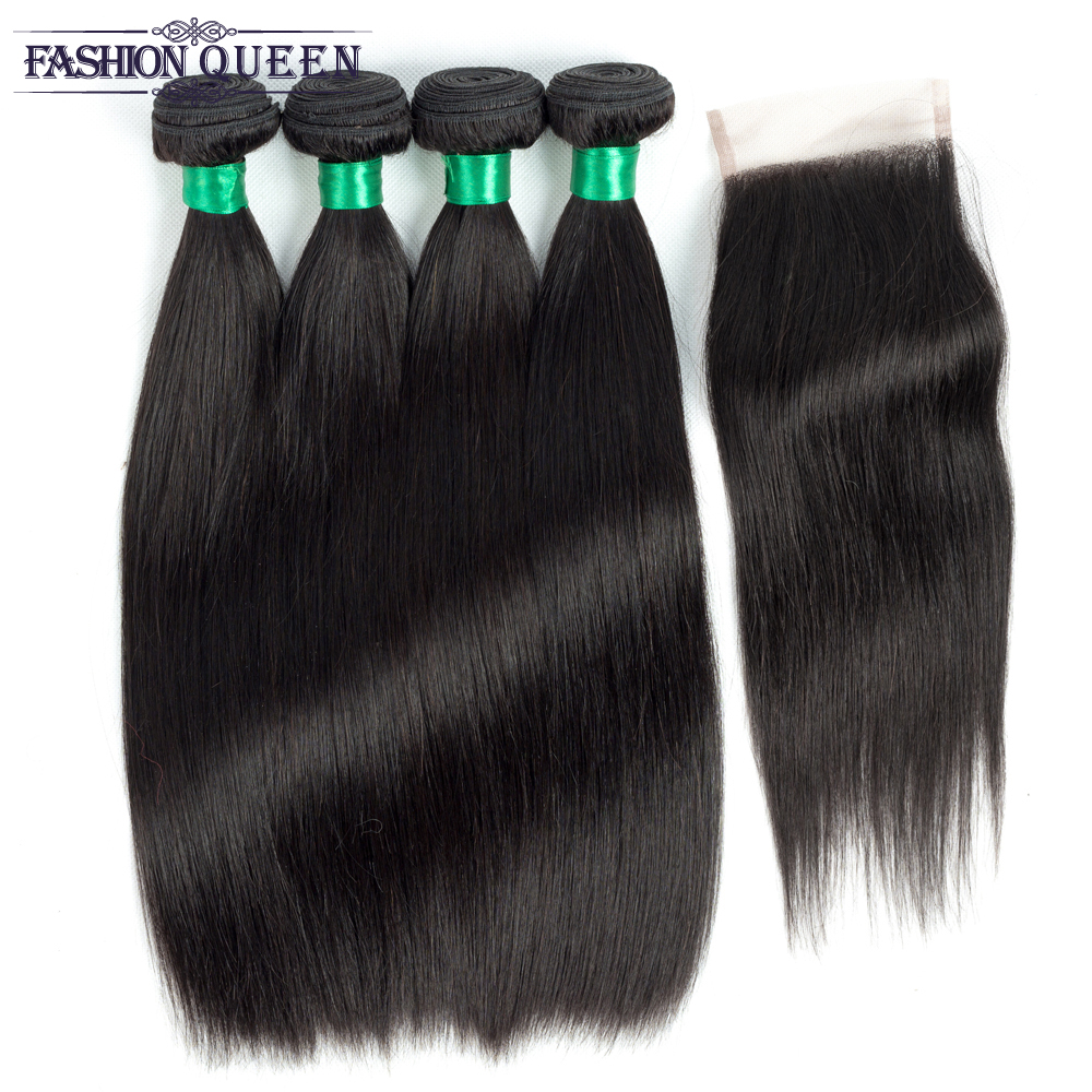 Fashion Queen Straight Brazilian Human Hair Weave 4 Bundles with Lace Closure Natural Color Non-remy Hair Extensions